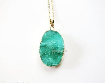 Green Druzy Necklace Gift Geode Gemstone Crystal Quartz Raw Stone Agate Gold Layered Long Mineral Rustic Statement C1