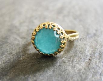 Gold Aqua Ring Silver Aquamarine Ring Turquoise Mint Blue Stone Ring Vintage Style Adjustable Statement Gemstone Ring Friendship Gift