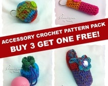 Sale! CROCHET PATTERN Accessory Pack:  Buy 3 get one Pattern FREE!  Lip Balm, Eos Lip Balm, and Hand Sanitier Holders.  Instant Download.