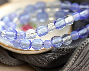 Blue beads mix, Czech glass round spacers, blue glass beads, druk, small - 4-3mm - approx.120Pc - 0419
