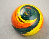 Forest Green Rainbow Swirled Handblown Glass Paperweight