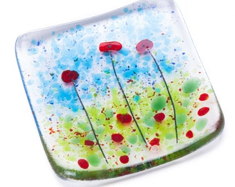 Poppies fused glass trinket dish bowl poppy earrings snack gifts present gift present teacher teachers wedding bride bridesmaid father's day