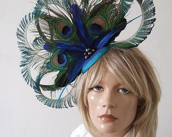 8 Sword Curled Peacock Fascinator - Feathers Cluster with Crinoline and Swarovski Pearls Blue Green hatinator hat