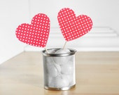 Red and White Polka Dot Heart Cupcake Toppers for Bridal or Baby Showers, Birthday Parties or Summer Weddings - Set of 12 -
