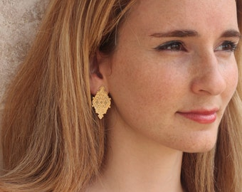 Gold Bridal Earrings, Gold Dominant Studs for Brides and Bridesmaids, Tribal Bridesmaids  Earrings, Bridesmaids Studs, Bridesmaids Gift
