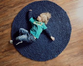 Crochet Rug Ocean Navy Blue Cotton Round Rug