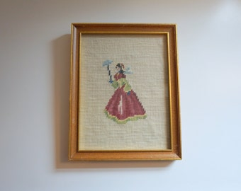 Needlepoint Handmade Picture with Wooden Frame Cross Stitch - Crewel Embroidery