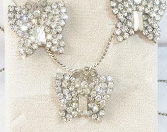 True Elegance: Diamond Rhinestone Butterfly PENDANT PIN Vintage Necklace and Earring set Drop Dead Amazing