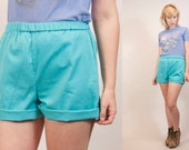 TURQUOISE TEAL aqua vintage 1980s high waisted shorts plain, athletic, no pockets unisex