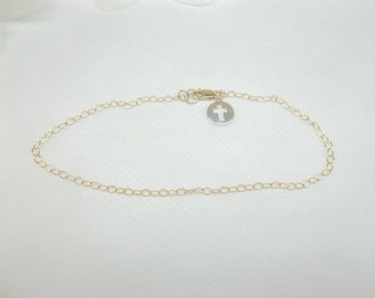14k Gold Chain Bracelet Silver Cross Bracelet 14kt Gold Bracelet Christian Gift For Her Stocking Stuffer Jewelry For Her BuyAny3+1 Free