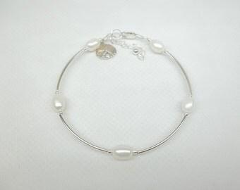 Sterling Silver Sand Dollar Bracelet White Pearl Bracelet Sandollar Bracelet Beach Jewelry Sterling Silver Bracelet BuyAny3+1 Free