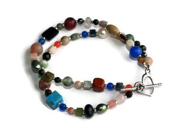 Colorful Multi Gemstone Double Strand Bracelet with Heart Toggle, Gemstone  Jewelry, Handmade Jewelry