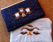 S'mores Zipper Pouch, Embroidered Campfire Theme Gadget and Tablet Cord Holder