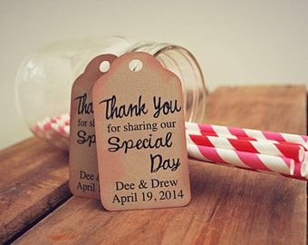 Thank You for Sharing Our Special Day Custom Favour Tag Set for Wedding Shower or Birthday Party