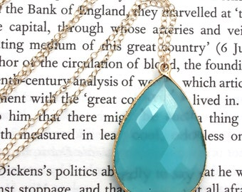 Aqua Chalcedony Pendant Long Gold Necklace