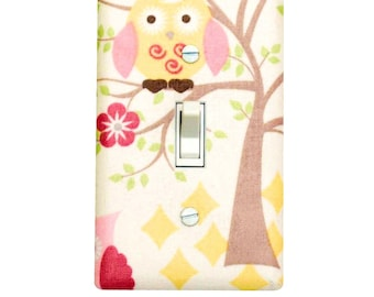 Owl Light Switch Cover / Baby Girl Nursery Decor / Kids Room / Pink Yellow Switchplate