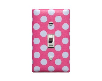 Pink Polka Dot Light Switch Plate Cover / Baby Girl Nursery Decor / Michael Miller Candy Pink White Ta Dot / Girls Room