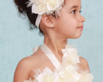 READY TO SHIP:  Pearl Pizzazz - Ivory - Flower Headband - Fits toddler to adult - Cutie Patootie Designz