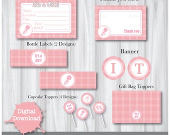 Baby Shower Digital Party Pack INSTANT DOWNLOAD Printable - It's a Girl Baby Pink Complete Banner Pack Set