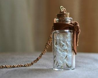 Dandelion Necklace Make A Wish Terrarium Necklace with Real Dandelion Seeds Botanical Bottle Jewelry Biology Nature Hipster Boho