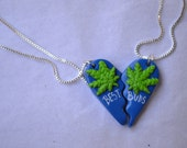 The Doctor Best Buds Split Heart Marijuana Leaf Friendship Necklaces