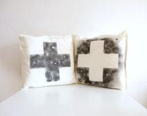 "2 Minimalist monochrome cross throw pillows . Hand painted cotton. 20"" x 20"""