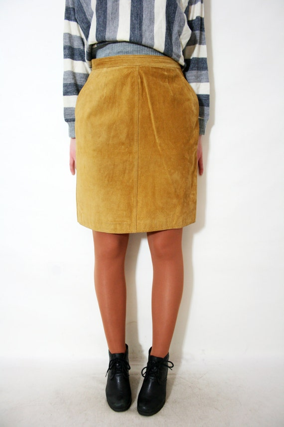 vintage 90s mustard suede leather mini pencil skirt by