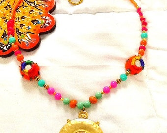 SALE-------BOMBAY PRINCESS Necklace- Middle Eastern Jewelry-22K Gold Plated - Bohemian Jewelry