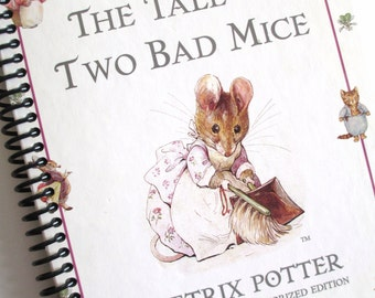 Beatrix Potter Book journal notebook Recycled Spiral Bound Baby book The Tale of Two Bad Mice