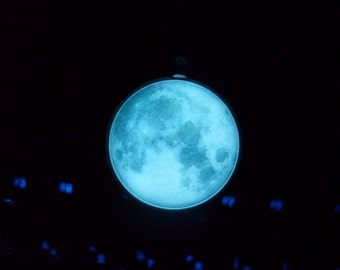 GLOW in the DARK Full MOON Pendant Necklace -- Choose Your Color -- Green, Aqua, Blue, Yellow, White, Orange, Pink, Purple, Red