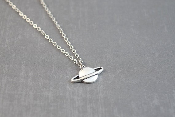 saturn necklace space necklace planet jewelry science