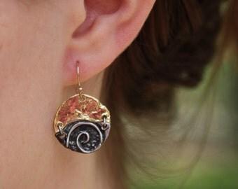 Mixed Metal Earrings - Silver Gold Earrings - Gold Silver Earrings - Swirl Earrings - Metal Swirl Earrings - Whimsical Earrings