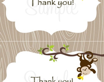 Monkey Baby THANK YOU Card 2 per 4x6 - Boy
