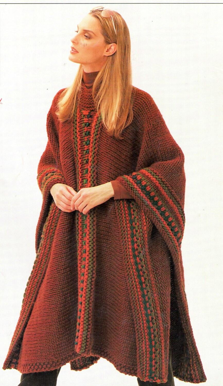 White Buffalo Knitting Pattern Wool Muchos Womens Poncho Digital Knittin...