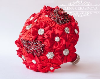 Brooch Bouquet. RED Fabric Bouquet, Unique Wedding Bridal Bouquet