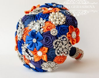 Brooch Bouquet. blue orange Fabric Bouquet, Unique Wedding Bridal Bouquet
