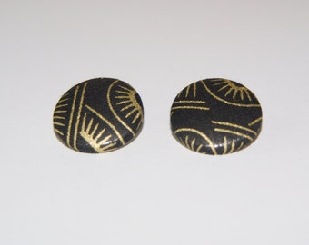 Fabric Covered Button Earrings- Black and Gold