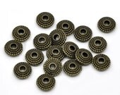 Bronze Rondelle Spacer Beads Textured - 8x4mm - 10pcs - Ships IMMEDIATELY from California - B1134