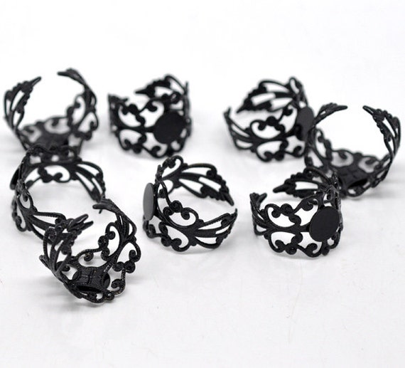 5 Black Ring Bases - Filigree - Adjustable - Holds 8mm - Ships IMMEDIATELY  from California - A14