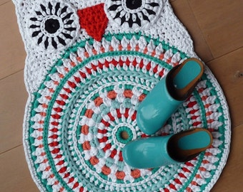 Crochet pattern owl rug by ATERGcrochet - XL crochet