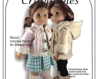 "PDF Pattern Chilly Day Sherpa Coat for 18"" dolls Instant Download"