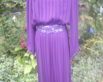 70S vintage purple  accordion pleats chiffon dress with belt  med 8 office dress