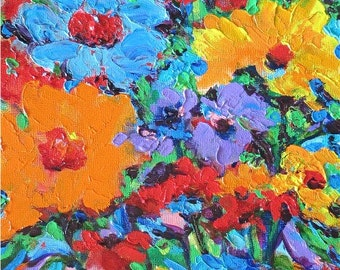 Impasto Floral Abstract, Mother's Day, Ready to Hang - Original Acrylic Palette Knife Painting by ebsq Artist Ricky Martin  FREE SHIPPING