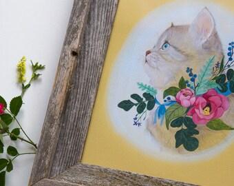 Kitten Botanical Art Print Framed 8x10 Colorful Nursery Decor