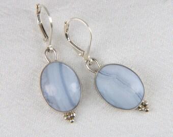 Artisan Earrings Large Drop Earrings Handmade Natural Stone Earrings Artisan Jewelry Blue Lace Agate Earrings
