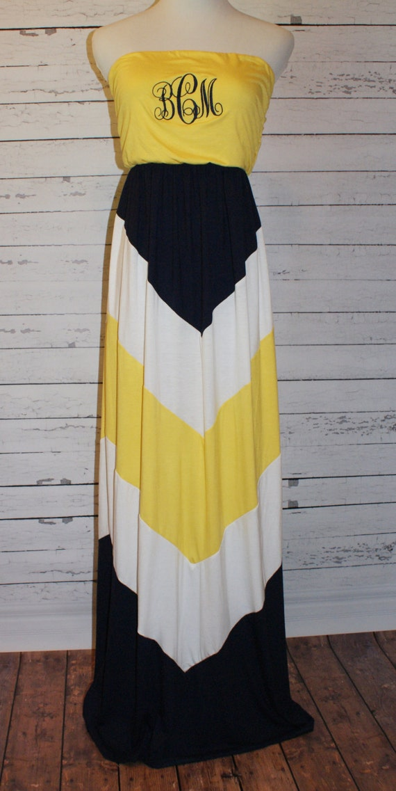 monogram maxi dress navy yellow and white by amyanneapparel