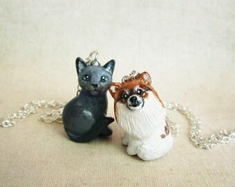 Pet portrait necklace. 3D version. Cat or dog custom portrait.