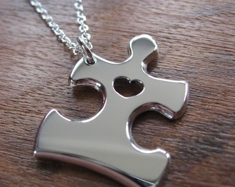 Silver Jigsaw Puzzle Piece Necklace Pendant