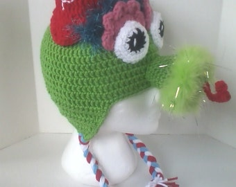 Adult Sized Phillies Phanatic Inspired Hat with Ear Flaps - Perfect for Phillies Baseball Fans!