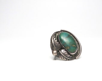 Vintage Green Turquoise Ring Silver Navajo Native Jewelry 1970s